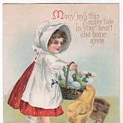 Unsigned Clapsaddle Girl Easter Egg Basket and Chicks Vintage Easter Postcard
