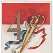 SOLD Artist Signed Clapsaddle Two Swords Red White and Blue Ribbons Vintage July Fourth Postca