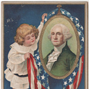 SOLD Artist Signed Clapsaddle Child with Washington Portrait Vintage Washington's Birthday Pos