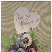 SOLD Pansies with a Green Sash and Background Vintage Valentine Postcard - Red Tag Sale Item