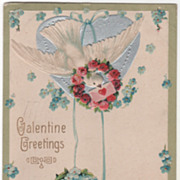 SOLD Lovebird with Note Wreaths of Roses and Blue Flowers Vintage Valentine Postcard