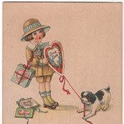 SOLD Little Girl with Valentines and a Puppy Vintage Valentine Postcard