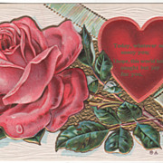 SOLD Large Pink Rose Red Heart Green Striped Ribbon Vintage Valentine Postcard