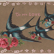 SOLD Birds with Flowers and Red Hearts Vintage Valentine Postcard - Red Tag Sale Item