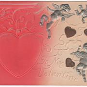 Large Pink Heart Silver Cupids Brown Hearts Vintage Valentine Postcard