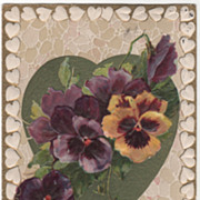 SOLD Winsch Yellow and Purple Pansies Green Heart Vintage Valentine Postcard - Red Tag Sale It