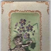 Purple Violets Painted on SIlk Silver Cupid Vintage Valentine Postcard