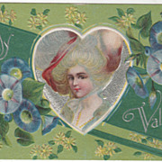 Lady with White Hair Large Hat Blue Morning Glories Vintage Valentine Postcard