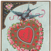 SOLD Bluebird Red & Gold Heart with Red Hearts Pink Roses Vintage Valentine Postcard - Red Tag