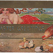 Artist Signed T Bieletto Young Woman Chicks and Chicken Vintage Easter Postcard