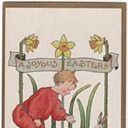 Artist Signed Ethel H Dewees Boy Daffodils Rabbit Vintage Easter Postcard