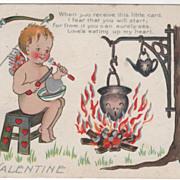 Artist Signed Ethel H Dewees Cupid Eating Silver Heart Vintage Valentine Postcard