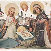 German Artist Signed J B Christmas Creche Cut Out A B C Vintage Christmas Postcards