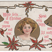 Artist Signed H B Griggs Young Woman Golden Bells Vintage Christmas Postcard