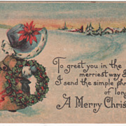 Artist Signed M Dulk Girl with Wreath in Snow Vintage Christmas Postcard