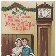 Artist Signed H B Griggs Couple Tall Case Clock Vintage New Year Postcard