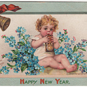 Artist Signed F Brundage Baby with Hour Glass Vintage New Year Postcard