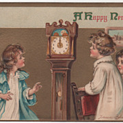 Artist Signed F Brundage Children Tall Case Clock Vintage New Year Postcard