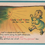 Artist Signed E Dewees Child in Sunlight Bells Vintage New Year Postcard