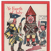 Artist Signed C Bunnell George III Tied Up Vintage July Fourth Postcard