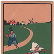 Artist Signed C K Cook Dutch People on Pathway Windmill Vintage Postcard