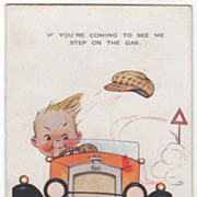 SOLD Artist Signed M L Attwell Boy Driving an Early Automobile Vintage Postcard
