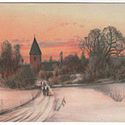 SOLD Artist Signed Brandt People on Way to Church in the Snow Vintage Postcard