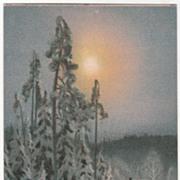 SOLD Artist Signed Brandt House in Woods in Heavy Snow Vintage Postcard