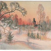 SOLD Artist Signed Brandt Sunset Scene of Church in the Snow Vintage Postcard