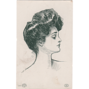 """Artist Signed Charles Dana Gibson 14073 """"Beatrice"""" Vintage Glamour Lady Postcard"""