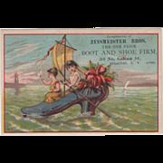 Zinsmeister Boots 35 Salina St Syracuse NY New York 1886-87 Vintage Trade Card