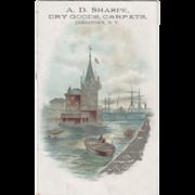 A D Sharpe Dry Goods Carpets Jamestown NY Vintage Trade Card