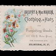 Brophy & MacMahon Clothing-Hats Elmira NY New York Vintage Trade Card