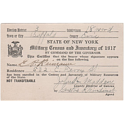 New York State Military Census and Inventory of Military Resources Card 1917