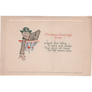 """Christmas Greetings"" Man Offering Hand Vintage Christmas Card"