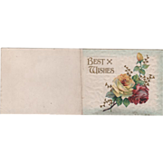 """Best Wishes"" Red and Yellow Roses Vintage Christmas Card"