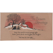 """Season's Greetings"" Snow Scene with Couple Walking Vintage Christmas Card"