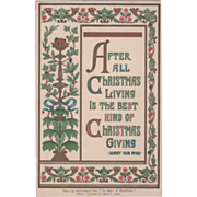 Art Nouveau Pedestal with Vines and Assorted Fruit Vintage Christmas Card