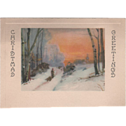 "Man Pulling Boy on a Sled in the Snow ""Season's Greetings"" Christmas Card"