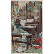 SOLD The Estey Phonorium Steuber & Graves Agents LeRoy NY Vintage Trade Card