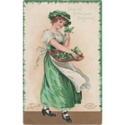 Signed Clapsaddle Lady with Tray of Greenery Vintage St Patrick's Day Postcard