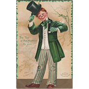 SOLD Signed Clapsaddle Man in Green with Top Hat Vintage St Patrick's Day Postcard - Red Tag S