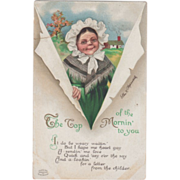Signed Clapsaddle Old Lady in Bonnet and Shawl Vintage St Patrick's Day Postcard