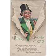 Signed Clapsaddle Old Man in Top Hat with Pipe Vintage St Patrick's Day Postcard