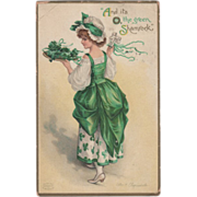 Signed Clapsaddle Woman with Tray of Shamrocks Vintage St Patrick's Day Postcard