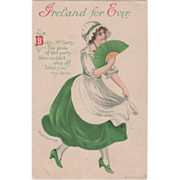 Signed Clapsaddle Woman with Folding Fan Vintage St Patrick's Day Postcard