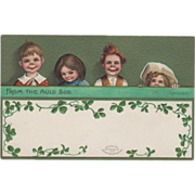 Signed Clapsaddle Four Irish Children Vintage St Patrick's Day Postcard