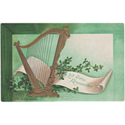 Signed Clapsaddle Golden Harp Scroll Greenery Vintage St Patrick's Day Postcard