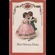 SOLD Little Boy and Girl in Formal Dress Dancing Vintage Valentine Postcard