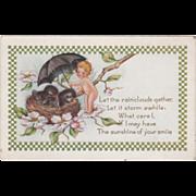 Whitney Cupid Holding Umbrella over Bird's Nest Vintage Greetings Postcard